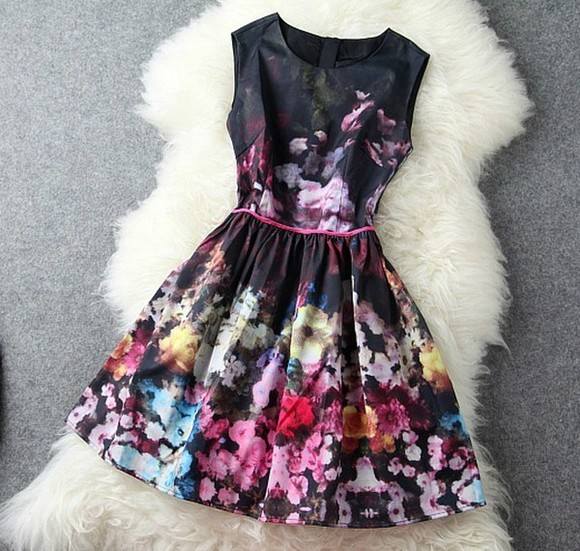 dress floral flowers hipster hippie cute dress cute skirt little black dress black black prom dress prom dress flower headband