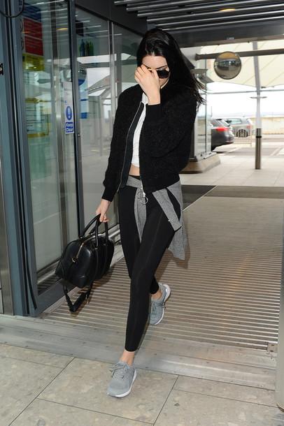 black jacket black sweater kendall jenner leggings jacket dress shoes