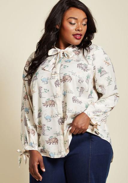 MCT1131A blouse dinosaur print white top