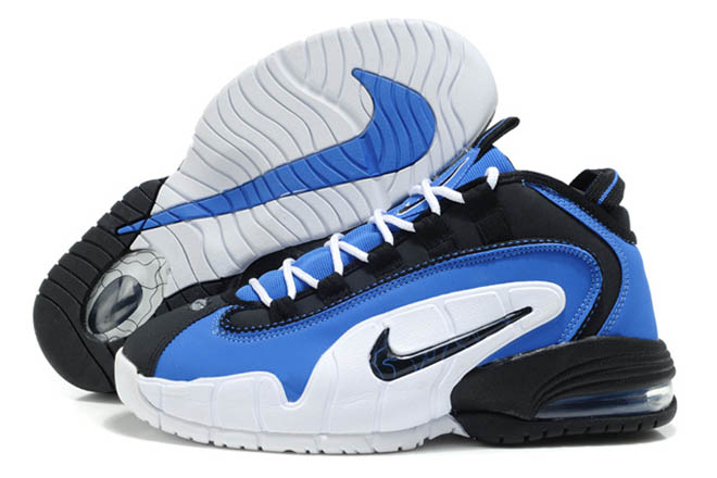 men blue black and white nike air penny one basketball shoes