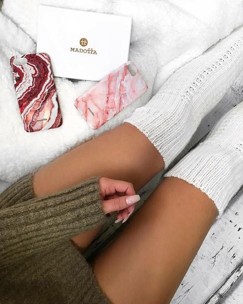 socks blanche noir laine long