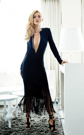 dress gown sandals fringes fringed dress bella thorne plunge v neck black dress necklace sexy sexy dress editorial