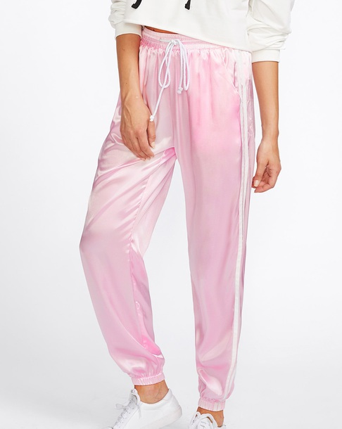 pants girly pink satin silk joggers stripes track pants