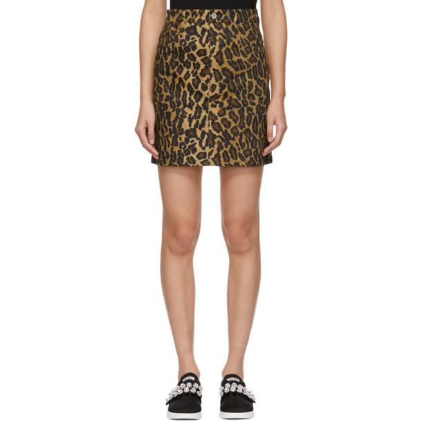 Miu Miu Tan Denim Leopard Miniskirt
