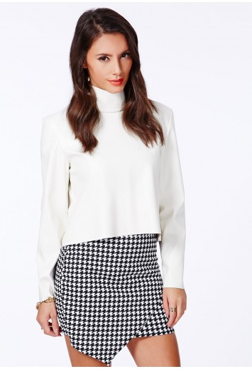Missguided - Brianna Black Dogtooth Wrap Over Skirt