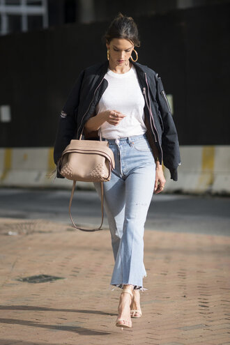jeans top jacket alessandra ambrosio sandals bomber jacket purse sandal heels nude heels shoes bag cropped flared jeans kick flare kick flare jeans