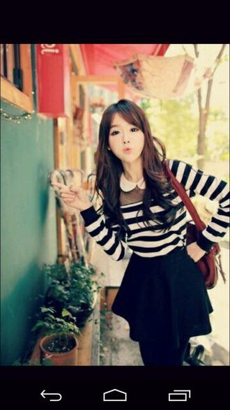 blouse kawaii korean fashion peter pan peter pan collar peter pan collar blouse cute stripes black and white