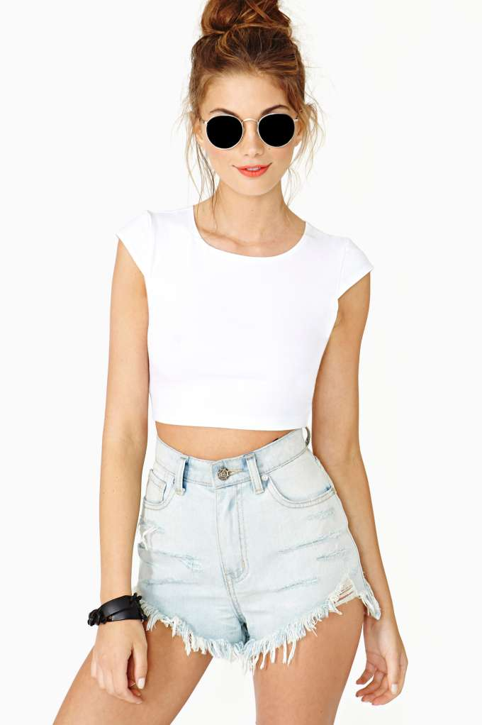 Sweet Persuasion Crop Tee - White in  Clothes at Nasty Gal