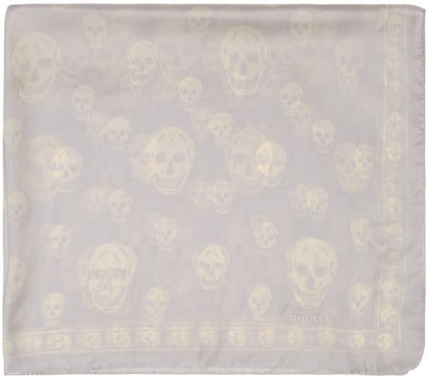 skull scarf white grey