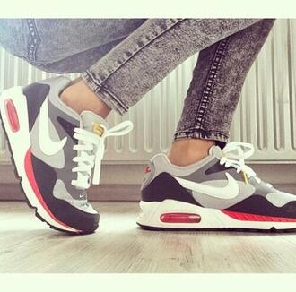 shoes air max 36 gris rouge blanc