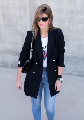 ms treinta blogger jacket t-shirt bag blazer shoulder bag skinny jeans