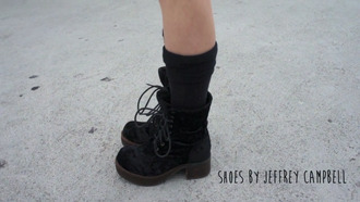shoes jeffrey campbell grunge black velvet lace up boots fashion