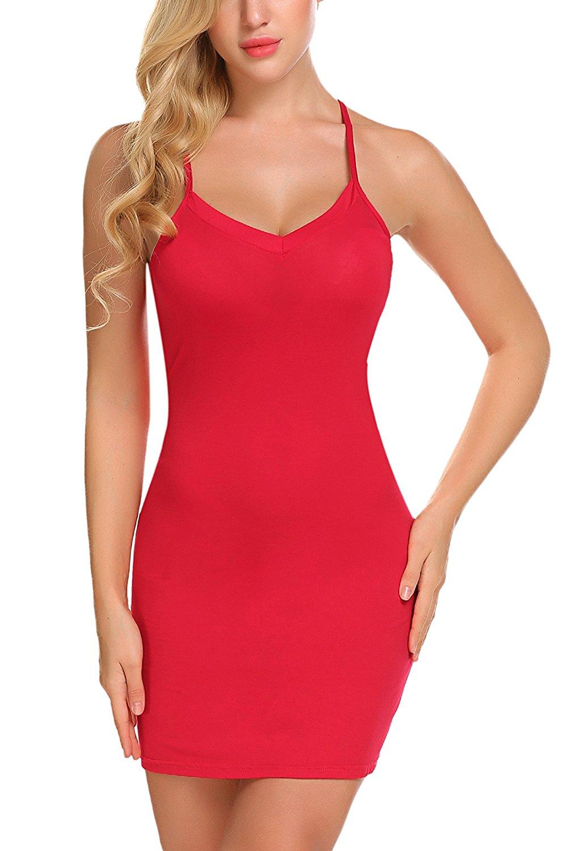 Avidlove Women Modal V Neck Nightwear Sleeveless Straight Dress Mini Short Slips at Amazon Women's Clothing store: