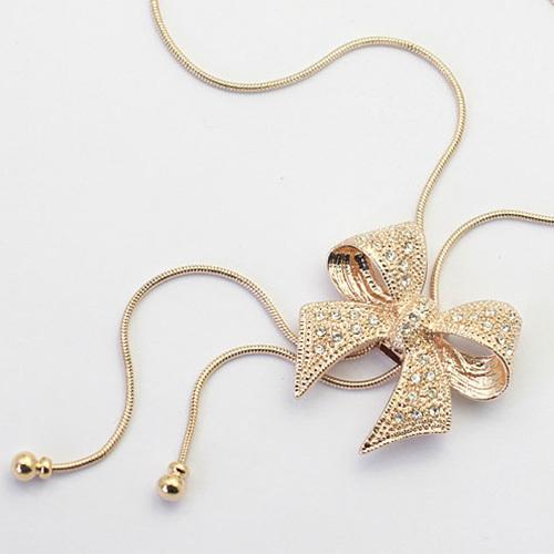 [grxjy5100337]fashion rhinestone bowknot pendant necklace