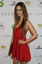 dress,hot,short,red,lily collins,red dress,mini dress,camisole