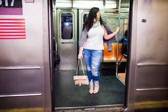 effortlessanthropologie blogger jacket top jewels bag jeans shoes pumps leather jacket spring outfits shoulder bag