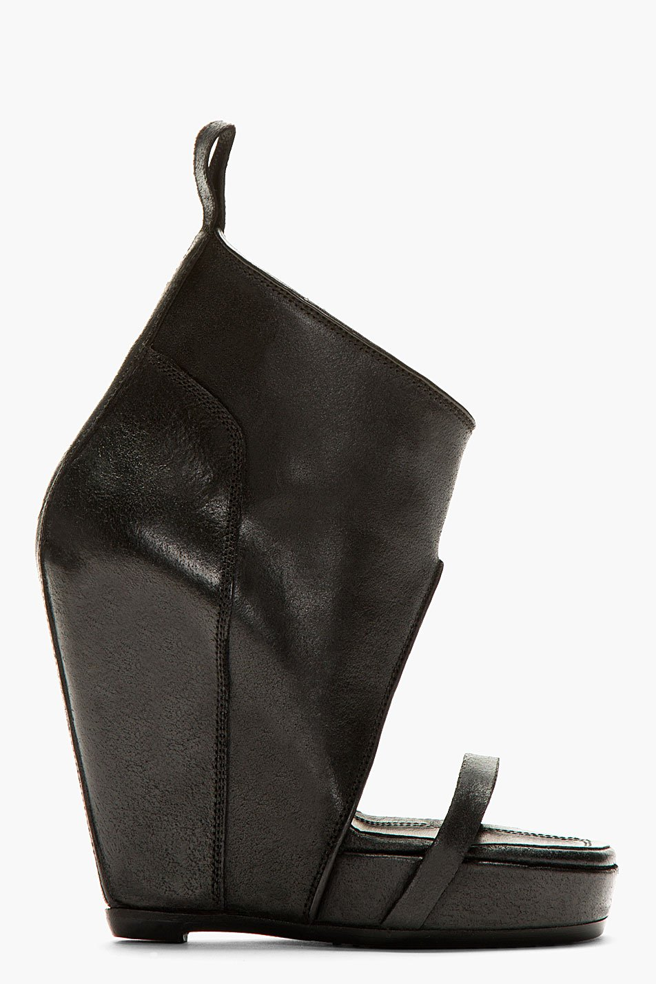 Rick owens black leather covered wedge heels