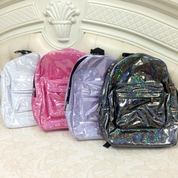 0226baaa54 bag glitter shiny backpack school bag pink dress glitter dress holographic  white dress t-shirt