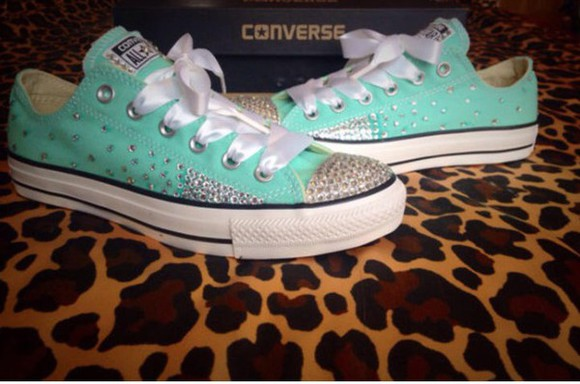 shoes teal converse sparkles