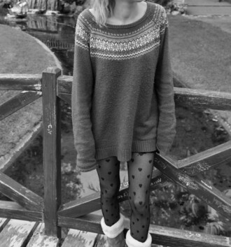 sweater oversized sweater winter sweater hearts tights furry boots cute sweater winter outfits bridge black and white outdoors