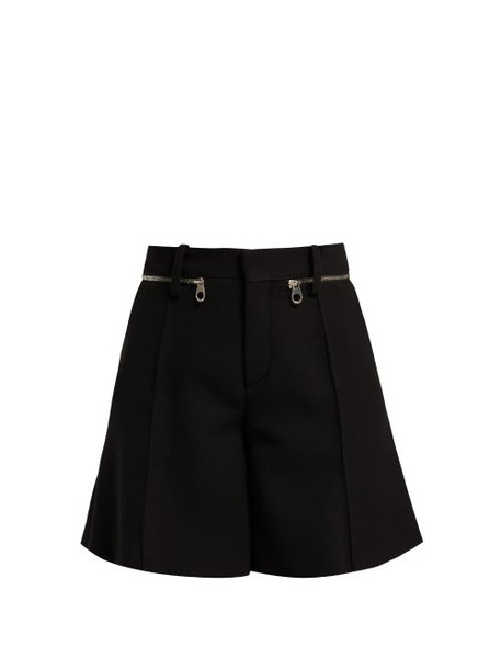 shorts zip black wool