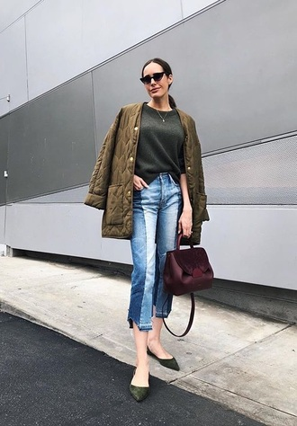 jeans cropped jeans shoes flats bag red bag jacket green jacket top green top sunglasses blue jeans