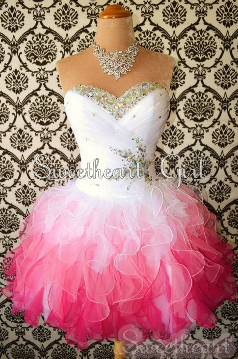 Sweetheart Girl | Sweetheart White/Red Mini Rhinestone Organza prom dresses/homecoming dresses | Online Store Powered by Storenvy