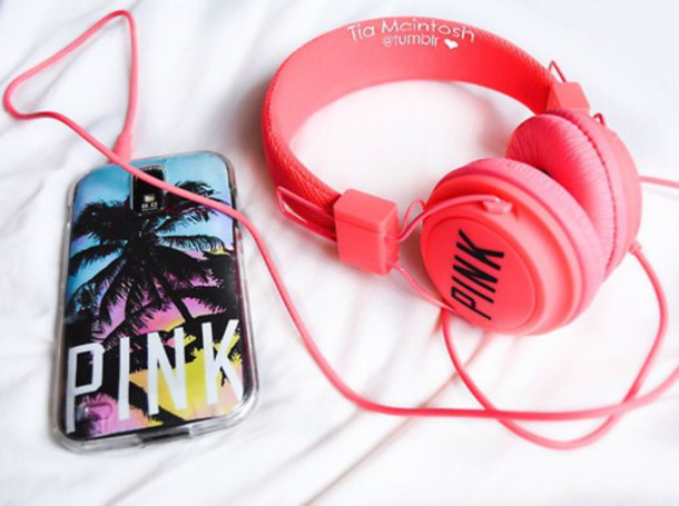 technology headphones earphones pink printed headphones