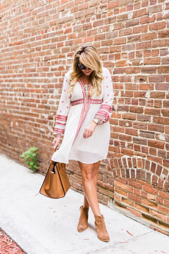 shop dandy blogger dress shoes bag sunglasses make-up jewels long sleeves white dress mini dress brown bag brown boots ankle boots
