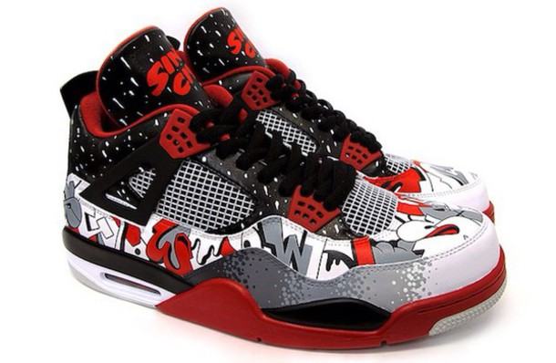 shoes red white black jordans