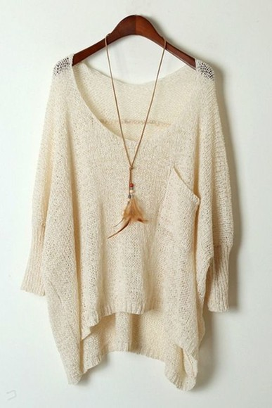sweater beige white beige sweater knitwear knit sweater casual light light weight creme cream loose