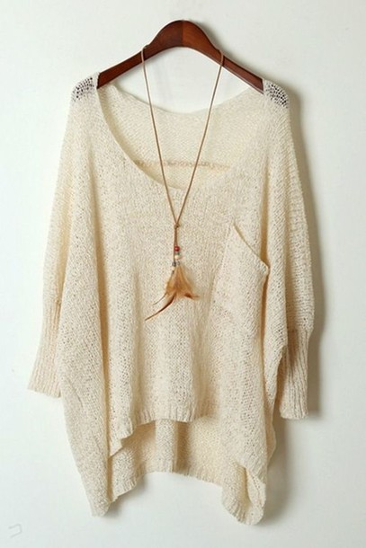 Sweater: casual, light, knitted sweater, light weight, beige ...