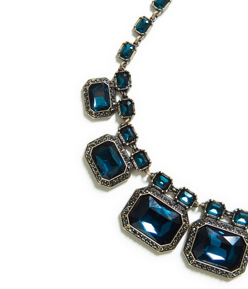 rhinestone jewels blue green necklace statement necklace silver