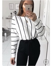 sweater,striped sweater,blouse,black and white,top,stripes,white,white top,long sleeves