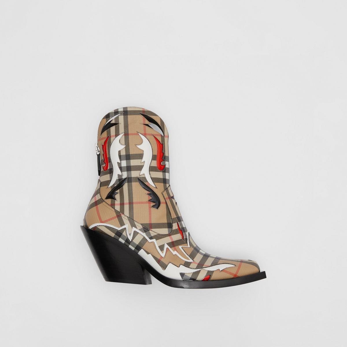 Topstitch Appliqué Vintage Check E-canvas Boots