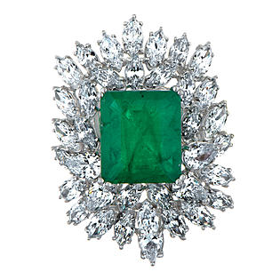 Emitations Elizabeth's Estate Jewellery Collection: Simulated Emerald and Diamond Cluster Cocktail Ring - Jewelry - Rings - Cubic Zirconia