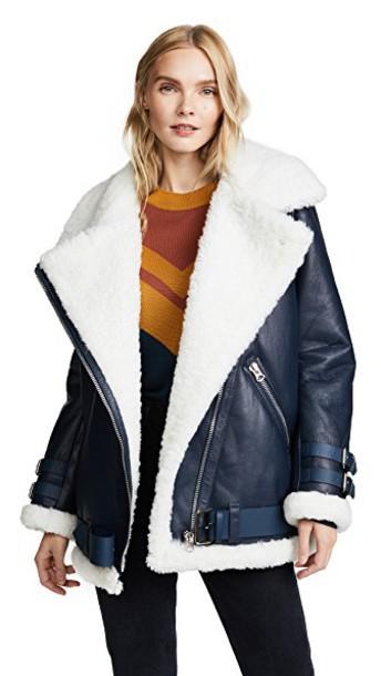 Acne Studios jacket leather jacket leather denim white blue