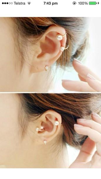 jewels ear cuff daisy diamonds fake real silver gold rhinestones pretty cuff girly sparkle earrings cute Accessory thanks glisten no piercing