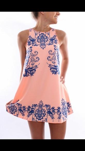 dress summer dress coral dress coral and blue dress bridesmaid