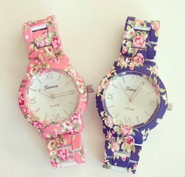 romantic jewels watch time teller blue pink flowers watch floral jeans cute tumblr tumblr girl geneva nail accessories flower watch