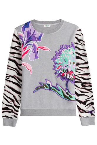 sweatshirt embroidered cotton grey sweater