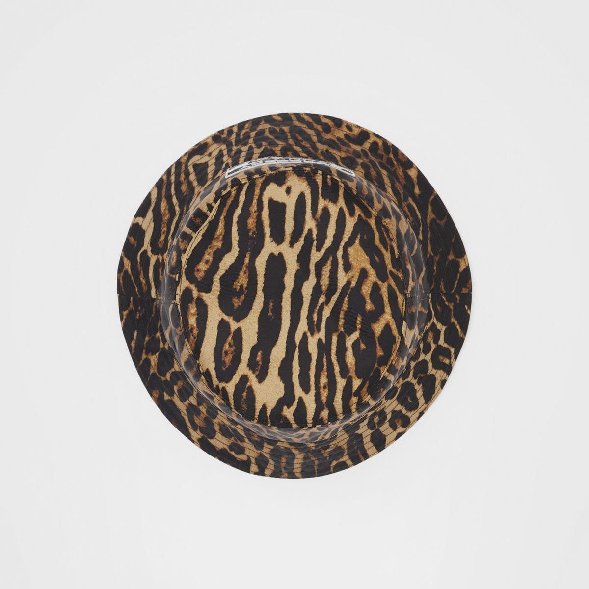 Reversible Logo Appliqué Leopard Print Bucket Hat