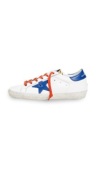 sneakers gold white blue red shoes