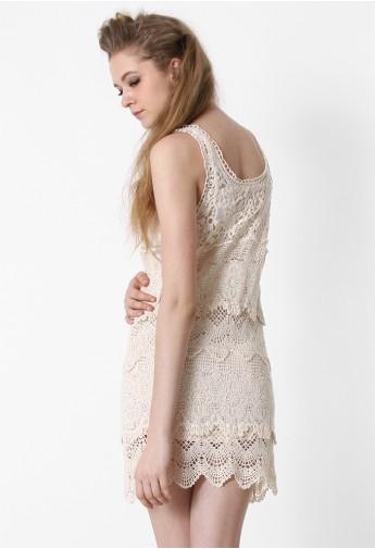 Multi-Layer Floral Crochet Dress - Retro, Indie and Unique Fashion