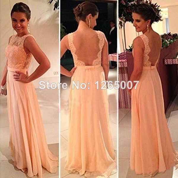 Aliexpress.com : Buy Boat Neck Lace Top Open Back A Line Nude Chiffon Maxi Dress Long Prom Dresses Fashion For Party from Reliable fashion silk dress suppliers on SFBridal