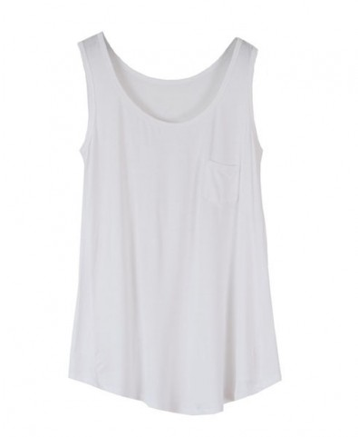 White loose fit tank with single patch pocket