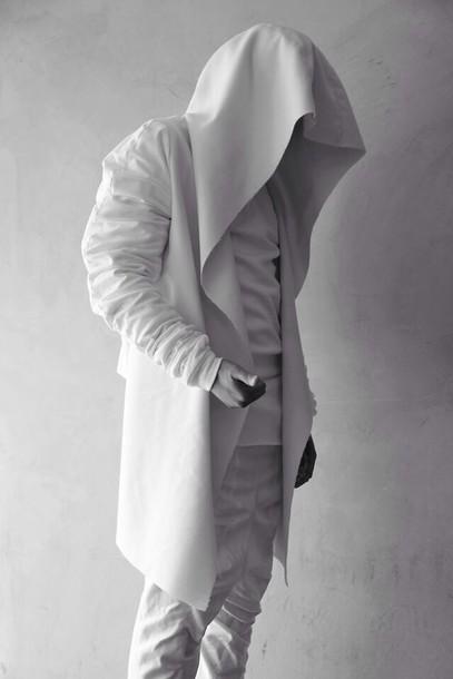 coat street goth blvck jacket white jacket mens jacket sweater ninja jacket white hoodie futuristic