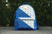 bag,blue,white,studs,backpack,gold studs,gold