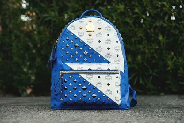 bag blue white studs backpack bag gold studs gold