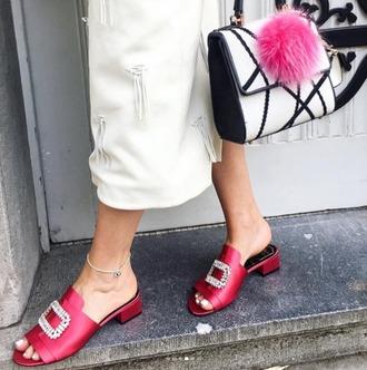 shoes roger vivier mytheresa summer sandals slippers open toes sandals sandal heels red shoes red sandals red sandals open toe embellished crystal